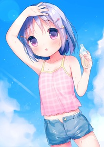 Rating: Safe Score: 1 Tags: 1girl :o arm_up bangs bare_arms bare_shoulders blue_shorts blue_sky blush bottle breasts camisole cloud collarbone cowboy_shot day denim denim_shorts eyebrows_visible_through_hair hair_ornament hairclip heart holding holding_bottle looking_at_viewer midriff original outdoors pantsu panty_peek parted_lips pink_camisole pink_pantsu plaid purple_eyes purple_hair shading_eyes shorts sky sleeveless small_breasts solo sweat tareme unbuttoned underwear usashiro_mani User: DMSchmidt