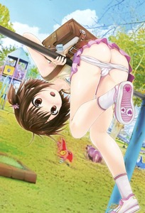 Rating: Questionable Score: 11 Tags: 1girl absurdres ass backpack bag bare_arms blue_sky blush bow bow_shirt brown_eyes brown_hair cameltoe cloud day dutch_angle hair_flower hair_ornament heart heart_print highres kisaragi_miyu kneepits open_mouth original outdoors pantsu pantsu_pull pink_legwear playground randoseru scan shoe_soles shoes skirt sky socks solo underwear User: Domestic_Importer