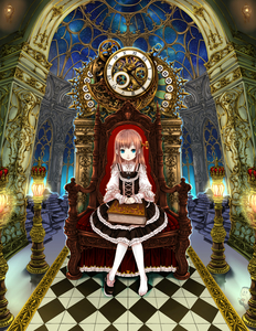 Rating: Safe Score: 0 Tags: 1girl absurdres bad_id barefoot blue_eyes book book_stack brown_hair castle checkered checkered_floor clock crown dress floor frills glowing gothic_lolita highres kooten_bergh_no_youhei lamp lolita_fashion long_hair looking_at_viewer original ornate pink_hair ribbon shoes single_shoe sitting skirt sky solo space star star_(sky) throne when_you_see_it winding_key User: DMSchmidt