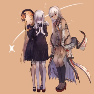 Rating: Safe Score: 0 Tags: 3girls :d ^_^ abigail_williams_(fate/grand_order) altera_(fate) bangs bare_shoulders black_bow black_dress black_footwear black_hat blonde_hair blue_eyes bow breasts brown_background brown_skin butterfly closed_eyes closed_mouth detached_sleeves dress eisuto eyebrows_visible_through_hair falling_star fate/grand_order fate_(series) forehead hair_bow hands_on_another's_shoulders hat horn lavinia_whateley_(fate/grand_order) leaning_to_the_side leg_warmers long_sleeves looking_away mary_janes multiple_girls open_mouth orange_bow own_hands_together pale_skin parted_bangs pink_eyes polka_dot polka_dot_bow red_eyes red_footwear shoes sleeves_past_wrists small_breasts smile veil white_hair wide-eyed User: Domestic_Importer