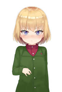 Rating: Safe Score: 1 Tags: 1girl atg_(wttoo0202) bangs blonde_hair blue_eyes blush closed_mouth eyebrows_visible_through_hair girls_und_panzer green_jacket highres jacket katyusha long_sleeves pravda_school_uniform red_shirt shirt short_hair simple_background solo upper_body v-shaped_eyebrows white_background User: Domestic_Importer