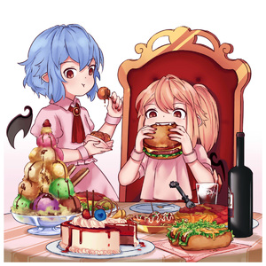 Rating: Safe Score: 0 Tags: 2girls :t ascot bat_wings blonde_hair blue_hair blush bottle bowl cake chair chocolate_syrup crystal cup detached_wings dress drinking_glass eating eyebrows_visible_through_hair fangs flandre_scarlet food fork fruit glass_bowl gradient gradient_background hair_between_eyes hamburger hand_up highres holding holding_bowl holding_food hot_dog ice ice_cream ice_cube looking_at_viewer meatball multiple_girls mustard nail_polish no_hat no_headwear omurice pasta pink_background pink_dress plate pocky pointy_ears puffy_short_sleeves puffy_sleeves red_eyes red_nails red_neckwear red_vest remilia_scarlet short_hair short_sleeves siblings side_ponytail sisters sitting spaghetti standing strawberry table toothpick touhou_project vest wafer_stick white_background wine_bottle wing_collar wings wrist_cuffs yoruny User: DMSchmidt