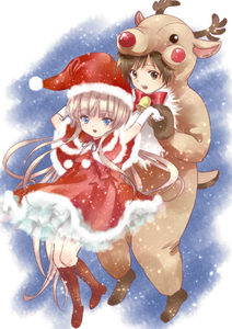 Rating: Safe Score: 0 Tags: 1boy 1girl alternate_eye_colour amano_sakuya animal_costume arms_up bell blue_eyes boots bow bowtie brown_eyes brown_footwear brown_hair capelet christmas cross-laced_footwear dress full_body fur_trim gloves gosick hat holding_hands knee_boots kujou_kazuya long_hair red_dress reindeer_costume santa_costume santa_hat sleeveless very_long_hair victorica_de_blois white_gloves User: Domestic_Importer