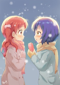 Rating: Safe Score: 0 Tags: 2girls :o aayh bangs blue_coat blue_hair blush brown_coat brown_gloves brown_scarf coat eyebrows_visible_through_hair fang from_side gift giving gloves gochuumon_wa_usagi_desu_ka? hair_between_eyes hair_bobbles hair_ornament heart-shaped_box highres holding holding_gift jouga_maya long_hair multiple_girls natsu_megumi nose_blush parted_lips pocket pom_pom_(clothes) profile red_hair scarf signature surprised twin_tails valentine yellow_eyes yellow_gloves yellow_scarf yuri User: Domestic_Importer