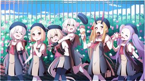 Rating: Safe Score: 0 Tags: 6+girls absurdres bag bandaged_hands bandages blonde_hair brick closed_eyes crepe doll_joints doughnut drooling fate/apocrypha fate/extra fate/grand_order fate_(series) fence finger_to_mouth flower food gloves green_eyes hair_ribbon hairband hedge hedge_(plant) highres holding_hands horns ibaraki_douji_(fate/grand_order) ice_cream jack_the_ripper_(fate/apocrypha) jeanne_d'arc_(fate)_(all) jeanne_d'arc_alter_santa_lily jumping long_hair looking_back multiple_girls neckerchief nursery_rhyme_(fate/extra) orange_eyes pantyhose paul_bunyan_(fate/grand_order) platinum_blonde pointy_ears purple_hair ribbon scar school_bag school_uniform smile thighhighs twin_tails very_long_hair wadakazu wavy_mouth white_hair wu_zetian_(fate/grand_order) yellow_eyes User: Domestic_Importer