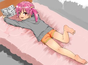 Rating: Safe Score: 10 Tags: 1girl ass barefoot brown_eyes coffee-milk-moumou fang feet from_behind grey_sweater kneepits legs legs_up long_hair looking_back lying manga_(object) on_stomach open_mouth orange_shorts original pink_hair reading short_shorts shorts smile soles solo tied_hair toes twin_tails User: Fui