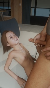 Rating: Explicit Score: 17 Tags: 1boy 1girl 3dcg age_difference blue_eyes brown_hair cum cum_on_body cumdrip facial flat_chest holding_penis kirkylol looking_up masturbation navel nipples nude penis photorealistic sitting smile standing User: fantasy-lover
