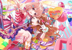 Rating: Safe Score: 0 Tags: 2girls :d ;d \m/ animal_ears balloon blue_background blue_hat blue_headwear bow brown_eyes brown_hair bunny bunny_ears candy_hair_ornament detached_sleeves diagonal-striped_background diagonal_stripes food_themed_hair_ornament futaba_anzu gloves hair_bow hair_ornament hat heart heart_hair_ornament highres idolmaster idolmaster_cinderella_girls idolmaster_cinderella_girls_starlight_stage long_hair looking_at_viewer mismatched_legwear misumi_(macaroni) moroboshi_kirari multicolored_bow multiple_girls neck_ribbon one_eye_closed open_mouth orange_bow orange_legwear pink_background pink_bow pink_legwear pink_skirt polka_dot polka_dot_hat red_bow red_eyes red_footwear red_ribbon ribbon skirt smile sparkle star striped striped_background striped_bow striped_skirt striped_sleeves top_hat v vertical-striped_skirt vertical_stripes white_background white_bow white_gloves white_legwear User: Domestic_Importer