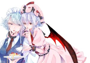 Rating: Safe Score: 2 Tags: 2girls ascot bangs bat_wings blue_eyes blue_hair blue_vest bow braid breasts cup dress fingernails food fruit hair_between_eyes hair_bow hand_up hat hat_ribbon headdress highres holding holding_cup holding_plate izayoi_sakuya long_sleeves looking_at_another maid maid_headdress medium_breasts mob_cap multiple_girls nail_polish necktie pink_dress pink_headwear plate pointy_ears puffy_short_sleeves puffy_sleeves red_bow red_eyes red_nails red_neckwear red_ribbon remilia_scarlet ribbon sharp_fingernails shirt short_hair short_sleeves silver_hair simple_background souta_(karasu_no_ouchi) strawberry strawberry_shortcake swept_bangs teacup tongue tongue_out touhou_project twin_braids upper_body vest white_background white_shirt wings wrist_cuffs yuri User: DMSchmidt