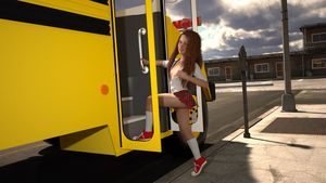 Rating: Questionable Score: 12 Tags: 1girl 3dcg long_hair looking_at_viewer lunarctic photorealistic red_hair school_bus school_uniform shoes skirt socks User: fantasy-lover