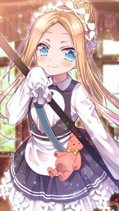Rating: Safe Score: 1 Tags: 1girl abigail_williams_(fate/grand_order) apron bangs black_skirt blonde_hair blue_eyes bow butterfly_hair_ornament fate/grand_order fate_(series) hair_ornament headdress heroic_spirit_chaldea_park_outfit highres holding key long_hair looking_at_viewer maid maid_apron maid_headdress orange_bow parted_bangs sakura_tsubame skirt sleeves_past_fingers sleeves_past_wrists smile stuffed_animal stuffed_toy teddy_bear User: DMSchmidt