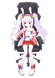 Rating: Safe Score: 1 Tags: 10s 1girl absurdres animal_ears azur_lane bangs bare_shoulders blush boots bunny_ears camisole chair chenran_tiantang closed_mouth collarbone hair_ornament hairband high_heel_boots high_heels highres jacket laffey_(azur_lane) long_hair long_sleeves off_shoulder office_chair on_chair open_clothes open_jacket panchira pantsu pantyshot_(sitting) pigeon-toed pink_jacket pleated_skirt red_eyes red_hairband red_skirt shimapan sidelocks silver_hair sitting skirt solo strap_slip striped thighhighs twin_tails underwear very_long_hair white_background white_camisole white_footwear white_legwear User: Domestic_Importer