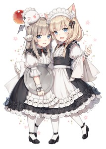 Rating: Safe Score: 6 Tags: 2girls :d animal_ear_fluff animal_ears apron au_ra ayuanlv black_dress black_footwear black_neckwear blonde_hair blue_eyes blush bow bowtie breasts collared_dress dated dragon_horns dragon_tail dress fang final_fantasy final_fantasy_xiv floral_background frills hair_ribbon hand_up headdress highres holding holding_tray horns index_finger_raised kerchief long_hair looking_at_viewer maid maid_apron maid_headdress miqo'te mole mole_under_eye moogle multiple_girls open_mouth parted_lips puffy_short_sleeves puffy_sleeves ribbon shoes short_sleeves side-by-side signature silver_hair small_breasts smile standing tail tray underbust white_apron white_background white_legwear wrist_cuffs User: DMSchmidt