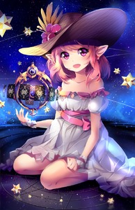 Rating: Safe Score: 2 Tags: 10s 1girl astrologian_(final_fantasy) bare_shoulders bent_over blush bow collarbone earrings final_fantasy final_fantasy_xiv flower hat jewellery looking_at_viewer magic magic_circle night open_mouth pink_bow pink_eyes pink_hair pointy_ears short_hair sitting smile solo squchan star User: DMSchmidt