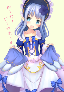 Rating: Safe Score: 1 Tags: 1girl :d bangs blue_bow blue_dress blue_eyes blush bonnet bow collarbone cross-laced_clothes curtsey dress flower gold_trim hair_flower hair_ornament harriet_(pso2) highres juliet_sleeves lolita_fashion long_hair long_sleeves looking_at_viewer open_mouth phantasy_star phantasy_star_online_2 pointy_ears puffy_sleeves sidelocks skirt skirt_hold smile solo striped upper_teeth vertical_stripes white_skirt wide_sleeves yuano User: DMSchmidt