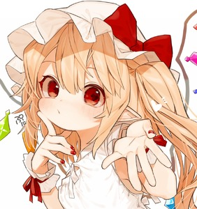 Rating: Safe Score: 2 Tags: 1girl alternate_costume artist_name bare_arms blonde_hair blush bow crystal finger_to_cheek flandre_scarlet gotoh510 hands_up hat hat_bow highres index_finger_raised long_hair looking_at_viewer mob_cap nail_polish one_side_up pointy_ears red_bow red_eyes red_nails signature simple_background sleeveless solo touhou_project upper_body white_background white_hat wings wrist_cuffs User: DMSchmidt