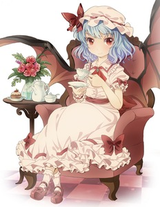 Rating: Safe Score: 0 Tags: 1girl ascot bat_wings blue_hair brooch cake chair cup dress flower food hat hat_ribbon jewellery looking_at_viewer pink_dress plant puffy_sleeves ratryu red_eyes red_rose remilia_scarlet ribbon rose sash short_sleeves sitting smile solo table teacup team_shanghai_alice teapot tile_floor tiles touhou_project vase wings wrist_cuffs User: DMSchmidt