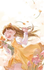Rating: Safe Score: 1 Tags: 1girl :d bangs bouquet bow closed_eyes dated devotion dress du_meishin flower hair_bow hand_up highres jingyiyeshan long_hair long_sleeves open_mouth petals shirt simple_background sleeveless sleeveless_dress smile solo standing white_background white_shirt wind yellow_bow yellow_dress User: DMSchmidt