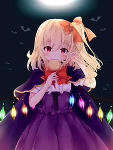 Rating: Safe Score: 0 Tags: 1girl alternate_costume bangs bat blonde_hair blush bow bowtie candy cape center_frills corset crystal eating eyebrows_visible_through_hair fang fingernails flandre_scarlet food full_moon hair_between_eyes hair_bow halloween halloween_costume hands_up head_tilt highres holding holding_lollipop lollipop long_fingernails looking_at_viewer moon night night_sky one_side_up outdoors pointy_ears purple_cape purple_skirt red_bow red_eyes red_neckwear shirt short_sleeves skirt sky solo tosakaoil touhou_project upper_body white_shirt wings User: DMSchmidt
