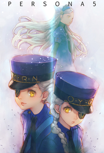 Rating: Safe Score: 2 Tags: 3girls black_neckwear boyaking braid caroline_(persona_5) copyright_name double_bun eyepatch grey_hair hair_bun hat justine_(persona_5) lavenza long_hair looking_at_viewer multiple_girls necktie persona persona_5 siblings sisters smile twins yellow_eyes User: DMSchmidt