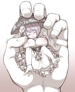 Rating: Questionable Score: 3 Tags: 1girl :d belt blush breast_press breasts breasts_outside clenched_hand closed_eyes cowtits eyebrows_visible_through_hair gradient gradient_background hat huge_breasts minigirl nipples nose_blush open_mouth oppai_loli pantsu pov pov_hands puffy_sleeves purple_hair short_hair simple_background smile socks solo_focus sukuna_shinmyoumaru touhou_project underwear urin white_pantsu User: DMSchmidt