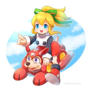 Rating: Safe Score: 0 Tags: 1girl blonde_hair blue_eyes bow capcom cloud dog dress flying full_body green_bow green_ribbon hair_between_eyes hair_ornament hair_ribbon happy high_ponytail long_hair long_sleeves open_mouth pointing pointing_finger pointing_forward ponytail purple_eyes red_dress red_footwear ribbon riding robot_animal rockman rockman_(classic) rockman_8 roll rush shoes sidelocks sky smile togeshiro_azami User: Domestic_Importer