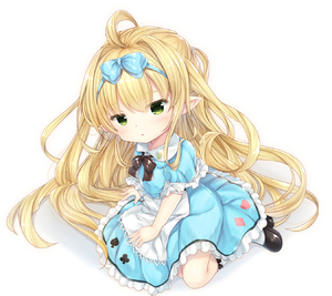 Rating: Safe Score: 3 Tags: 1girl ahoge alice_(wonderland) alice_(wonderland)_(cosplay) alice_in_wonderland apron bangs black_footwear blonde_hair blue_bow blue_dress blush bow club_(shape) cosplay diamond_(shape) dress eyebrows_visible_through_hair gradient gradient_background granblue_fantasy green_eyes grey_background hair_between_eyes hair_bow harvin head_tilt heart highres kneehighs long_hair maid_apron melissabelle parted_lips pointy_ears puffy_short_sleeves puffy_sleeves shizukawashi_sumi shoes short_sleeves solo spade_(shape) very_long_hair white_apron white_background white_legwear User: DMSchmidt