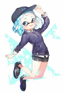Rating: Safe Score: 0 Tags: 1girl arm_up baseball_cap blue_eyes blue_hair blue_shirt domino_mask fang hand_on_headwear hat highres inkling jumping mask open_mouth pointy_ears shirt shoes short_hair shorts smile sneakers solo spats splatoon sprbouuz tentacle_hair User: DMSchmidt