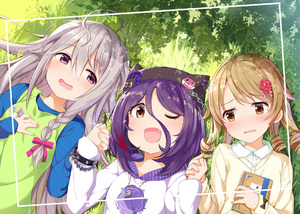 Rating: Safe Score: 1 Tags: 10s 3girls black_hat blush brown_eyes brown_hair eyebrows_visible_through_hair hat hayasaka_mirei holding_hand hoshi_shouko idolmaster idolmaster_cinderella_girls long_hair looking_at_another looking_at_viewer lying morikubo_nono multiple_girls on_back one_eye_closed open_mouth parted_lips purple_eyes purple_hair short_hair silver_hair smile takasaka_donten User: Domestic_Importer