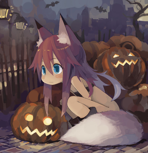 Rating: Safe Score: 5 Tags: 1girl animal_ears bandeau bat blue_eyes blush boots bottomless brown_hair convenient_censoring fox_ears glowing halloween jack-o'-lantern long_hair original outdoors paprika_shikiso pumpkin solo squatting tail User: DMSchmidt