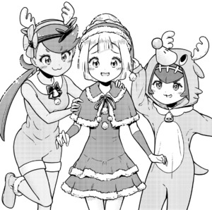Rating: Safe Score: 2 Tags: 3girls :3 absurdres animal_costume antlers arm_up bell bow brown_skin dress flower fur_trim greyscale hair_flower hair_ornament hairband hat highres hood hood_up lillie_(pokemon) long_hair mao_(pokemon) monochrome multiple_girls npc_trainer open_mouth pokemon pokemon_(game) pokemon_sm pom_pom_(clothes) reindeer_antlers reindeer_costume santa_costume santa_hat simple_background suiren_(pokemon) trial_captain twin_tails white_background ziburikito User: DMSchmidt