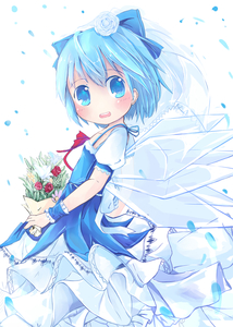 Rating: Safe Score: 0 Tags: 1girl absurdres alternate_costume bad_id blue_eyes blue_hair blush bouquet bow bridal_veil bride cirno dress flower frills hair_bow hair_flower hair_ornament highres ice ice_wings matching open_mouth ribbon sakuraba_hikaru_(loveindog) shirt short_hair skirt solo touhou_project v_arms veil wings wrist_cuffs User: Domestic_Importer