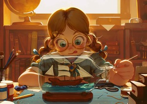 Rating: Safe Score: 1 Tags: 1girl :p alkemanubis bangs blue_eyes blush book book_stack bookshelf bottle braid brown_hair concentrating day facing_viewer full-face_blush glasses globe green_eyes hair_ornament highres indoors long_hair low_twintails original paintbrush parted_bangs pencil pin round_eyewear sailor_collar school_uniform serafuku ship solo tongue tongue_out twin_braids twin_tails watercraft window User: DMSchmidt
