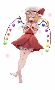 Rating: Safe Score: 1 Tags: 1girl artist_name ascot bangs bare_legs barefoot bloomers blush crystal eyebrows_visible_through_hair flandre_scarlet flower frilled_shirt_collar frilled_sleeves frills full_body hat hat_ribbon heart highres holding holding_flower looking_away looking_to_the_side mob_cap nail_polish one_side_up own_hands_together perri_(mnemosine) puffy_short_sleeves puffy_sleeves red_nails red_ribbon red_skirt ribbon short_hair short_sleeves skirt solo thigh_gap touhou_project underwear white_hat yellow_neckwear User: DMSchmidt