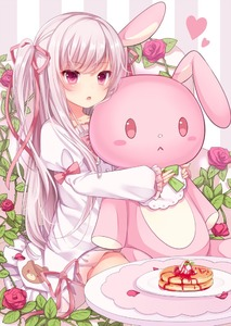 Rating: Safe Score: 1 Tags: 1girl amashiro_natsuki bear_print doll_hug dress flower hair_ribbon heart juliet_sleeves long_hair long_sleeves looking_at_viewer open_mouth original pancake pink_eyes plate puffy_sleeves red_rose ribbon rose silver_hair solo striped striped_background stuffed_animal stuffed_bunny stuffed_toy table twin_tails very_long_hair white_dress wide_sleeves User: DMSchmidt