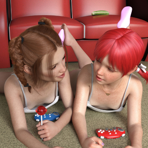Rating: Questionable Score: 35 Tags: 2girls 3dcg ariatiger barefoot brown_hair budding_breasts candy couch cucumber dildo downblouse freckles game_controller highres lollipop multiple_girls necklace photorealistic red_hair sex_toy sexually_suggestive smile socks twin_tails User: fantasy-lover