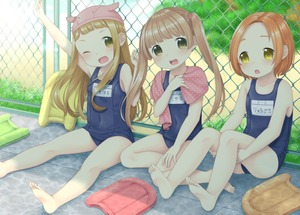 Rating: Safe Score: 5 Tags: 3girls ;d against_fence arm_up armpit_peek bangs blonde_hair brown_eyes bush chain-link_fence character_name collarbone day eyebrows_visible_through_hair fence forehead hands_on_own_legs head_tilt highres ichihara_nina idolmaster idolmaster_cinderella_girls kickboard lens_flare light_brown_hair long_hair looking_at_viewer multiple_girls on_ground one_eye_closed open_mouth orange_hair outdoors outstretched_legs polka_dot_towel ryuuzaki_kaoru school_swimsuit sitting smile swim_cap swimsuit thick_eyebrows tile_floor tiles towel towel_around_neck two_side_up upper_teeth very_long_hair xenon_(simlacurm) yellow_eyes yokoyama_chika User: DMSchmidt