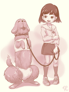 Rating: Questionable Score: 6 Tags: 1girl animal_ears black_hair bulge collar dog dog_ears dog_tail flat_chest full_body highres ironashi jacket leash long_sleeves monochrome open_mouth original phallic_imagery shoes skirt smile socks standing tail tongue tongue_out what white_background User: Domestic_Importer