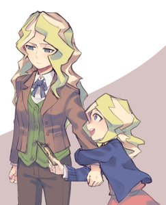 Rating: Safe Score: 0 Tags: 2girls blonde_hair blue_eyes blush diana_cavendish dual_persona formal highres jacket little_witch_academia long_hair multiple_girls open_mouth smile suit toy younger User: Domestic_Importer