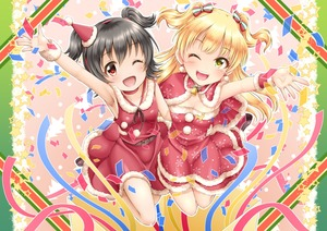 Rating: Safe Score: 0 Tags: 2girls ;d akagi_miria arm_up bangs bare_shoulders bell belt belt_buckle black_hair blonde_hair blush breasts brown_belt brown_ribbon buckle choker christmas cleavage collarbone confetti dress eyebrows_visible_through_hair fur-trimmed_dress fur-trimmed_hat green_eyes hair_between_eyes hat highres idolmaster idolmaster_cinderella_girls idolmaster_cinderella_girls_starlight_stage jougasaki_rika long_hair multiple_girls neck_ribbon one_eye_closed open_mouth outstretched_arm pom_pom_(clothes) red_choker red_dress red_eyes red_hat regular_mow ribbon santa_costume santa_hat sleeveless sleeveless_dress small_breasts smile star streamers two_side_up very_long_hair wrist_cuffs User: DMSchmidt