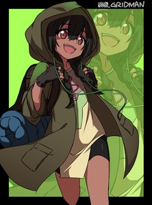 Rating: Safe Score: 1 Tags: 1girl :d anoshiras_ii backpack bag bangs black_background black_gloves black_shorts blush braid brown_dress brown_jacket copyright_name dress eyebrows_visible_through_hair fingerless_gloves gloves green_background hair_between_eyes head_tilt highres hood hood_up hooded_jacket jacket long_hair long_sleeves low_twintails minowa_sukyaru open_clothes open_jacket open_mouth randoseru red_eyes short_shorts shorts smile solo spats ssss.gridman treble_clef twin_braids twin_tails two-tone_background upper_teeth zoom_layer User: DMSchmidt