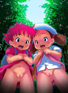 Rating: Questionable Score: 10 Tags: 2girls ass_visible_through_thighs blush bottomless clitoris crossover dress dress_lift eyebrows_visible_through_hair fat_mons from_below gake_no_ue_no_ponyo hair_bobbles hair_ornament hat highres kusakabe_mei lifted_by_self looking_down mion_orz multiple_girls navel nopan ponyo pussy red_hair shiny shiny_skin short_sleeves skirt_hold tonari_no_totoro uncensored white_hat white_headwear white_shirt User: Domestic_Importer
