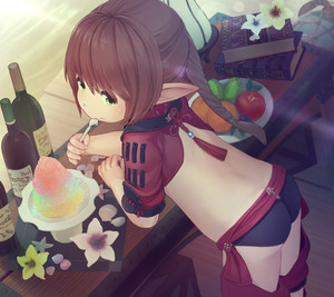 Rating: Safe Score: 4 Tags: 1girl ass bare_back black_panties book bottle braid brown_hair crop_top eating ell final_fantasy final_fantasy_xiv flower food from_behind fruit green_eyes lalafell leaning_forward long_hair looking_back pantsu plate pointy_ears ponytail slushie solo spoon table underwear wine_bottle User: DMSchmidt