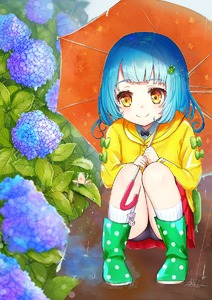Rating: Safe Score: 0 Tags: 1girl bangs black_panties blue_hair blush boots eyebrows_visible_through_hair flower full_body green_footwear highres hydrangea miniskirt omelet_tomato original panchira pantsu pantyshot_(squatting) polka_dot_footwear rain raincoat red_skirt short_hair skirt smile solo squatting umbrella underwear yellow_eyes User: DMSchmidt