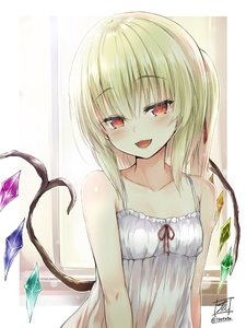 Rating: Safe Score: 0 Tags: 1girl :d artist_name bangs bare_arms bare_shoulders blonde_hair blush border breasts camisole collarbone crystal eyebrows_visible_through_hair fangs flandre_scarlet frills hair_between_eyes hair_ribbon head_tilt looking_at_viewer no_hat no_headwear one_side_up open_mouth outside_border red_eyes red_ribbon ribbon signature small_breasts smile solo spaghetti_strap tirotata touhou_project twitter_username upper_body white_border window wings User: DMSchmidt