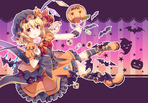 Rating: Safe Score: 1 Tags: 1girl :q absurdres alternate_costume ankle_boots basket bat biscuit black_hat black_vest blonde_hair blush boots bow bowtie brooch candy candy_wrapper checkerboard_cookie crystal eyebrows_visible_through_hair flandre_scarlet food frilled_skirt frills full_body ghost gradient gradient_background halloween halloween_basket hat hat_ribbon highres holding holding_basket holding_lollipop huge_filesize jack-o'-lantern jam_cookie jewellery kneehighs knees_together_feet_apart kure~pu licking_lips lollipop looking_at_viewer mob_cap one_side_up orange_footwear orange_shirt orange_skirt outline outstretched_arm pigeon-toed puffy_short_sleeves puffy_sleeves pumpkin red_bow red_eyes red_ribbon ribbon shirt short_hair short_sleeves sitting skirt skirt_set smile solo star starry_background striped striped_background striped_legwear swirl_lollipop thumbprint_cookie tongue tongue_out touhou_project vertical-striped_background vertical_stripes vest wings wrist_cuffs User: DMSchmidt