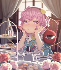 Rating: Safe Score: 2 Tags: 1girl :/ biscuit blush chin_rest collar cup curtains eyebrows_visible_through_hair flower food frilled_collar frilled_sleeves frills hairband hands_on_own_cheeks hands_on_own_face head_rest heart highres indoors komeiji_satori long_sleeves looking_at_viewer nose nose_blush pink_eyes pink_flower pink_hair pink_rose pout red_flower red_rose rose sho_shima short_hair sitting solo table tea_set teacup touhou_project white_flower white_rose wide_sleeves window User: DMSchmidt