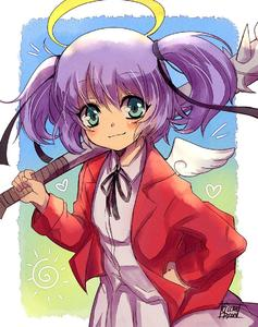 Rating: Safe Score: 2 Tags: 1girl blazer blush_stickers bokusatsu_tenshi_dokuro-chan excalibolg flat_chest green_eyes gurepyon hair_ribbon halo hand_on_hip jacket mace mini_wings mitsukai_dokuro purple_hair ribbon school_uniform short_twin_tails skirt solo twin_tails weapon User: DMSchmidt