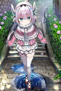 Rating: Safe Score: 0 Tags: 1girl absurdres bangs black_bow black_hairband blue_eyes blunt_bangs blush bow capelet center_frills closed_mouth day flower fog frilled_capelet fur_collar greatmosu hair_bobbles hair_bow hair_ornament hairband highres horns hydrangea kanna_kamui kobayashi-san_chi_no_maidragon layered_skirt leaf long_hair long_sleeves looking_at_viewer low_twintails outdoors pink_hair plant puddle puffy_long_sleeves puffy_sleeves railing red_footwear reflection ripples rust shiny shiny_hair shoes skirt sleeves_past_wrists snail solo stairs stone_stairs tail thighhighs twin_tails very_long_hair water water_drop white_legwear white_skirt zettai_ryouiki User: Domestic_Importer
