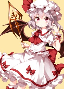 Rating: Safe Score: 0 Tags: 1girl ascot bow eyebrows_visible_through_hair frilled_shirt_collar frills hair_between_eyes hat highres medium_hair mob_cap puffy_short_sleeves puffy_sleeves red_bow red_eyes red_neckwear remilia_scarlet ruu_(tksymkw) shirt short_sleeves simple_background skirt skirt_set smile solo spear_the_gungnir touhou_project white_hair white_shirt white_skirt wrist_cuffs yellow_background User: DMSchmidt